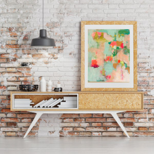 Mock up poster on table in loft space - 3D render
